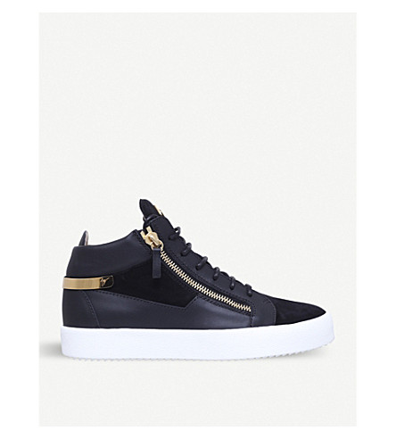 GIUSEPPE ZANOTTI Leather and suede mid-top trainers (Black