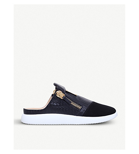 GIUSEPPE ZANOTTI Textured leather and suede backless trainers (Black