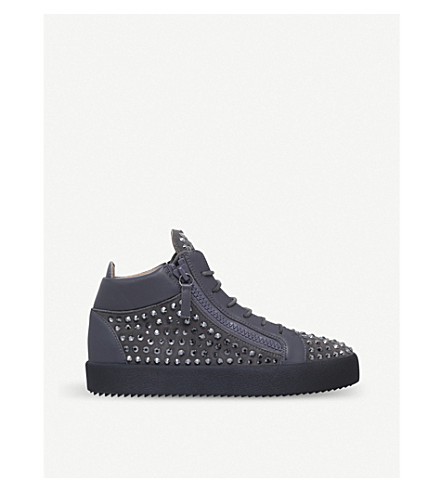GIUSEPPE ZANOTTI Kriss crystal-embellished leather mid-top trainers (Grey