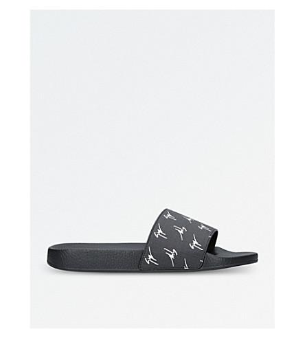 GIUSEPPE ZANOTTI Logo-print slide sandals (Blk/white