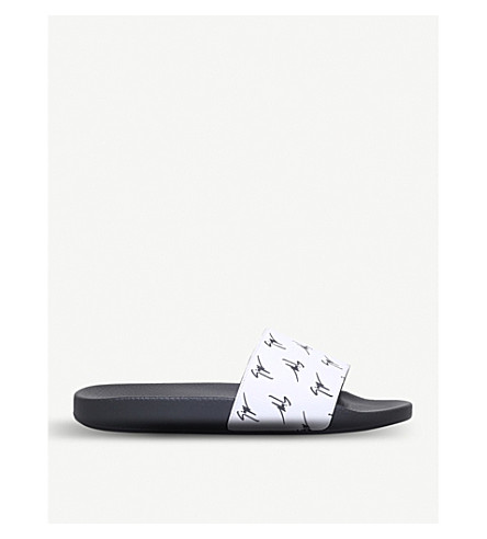 GIUSEPPE ZANOTTI Logo-print leather slides (White/blk