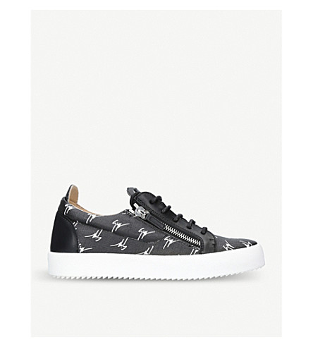 GIUSEPPE ZANOTTI Multi logo canvas and leather trainers (Blk/white