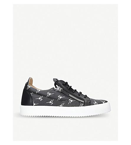 GIUSEPPE ZANOTTI 多标志帆布和皮革运动鞋 (中/白