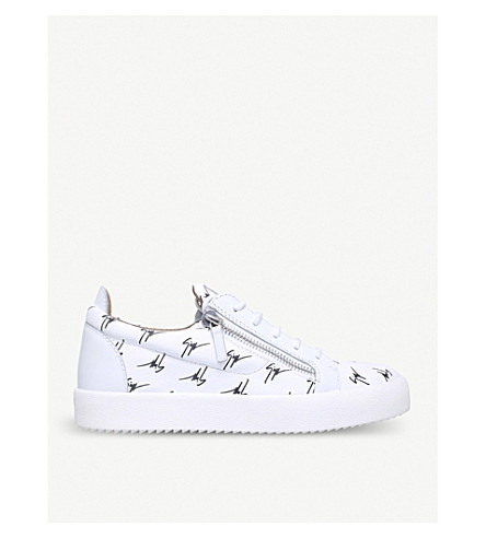 GIUSEPPE ZANOTTI Multi logo canvas and leather trainers (White/blk