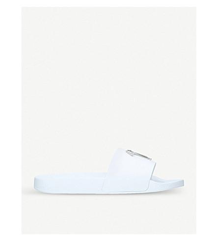GIUSEPPE ZANOTTI Signature logo leather sliders (White