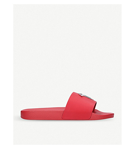 GIUSEPPE ZANOTTI Signature logo leather sliders (Red
