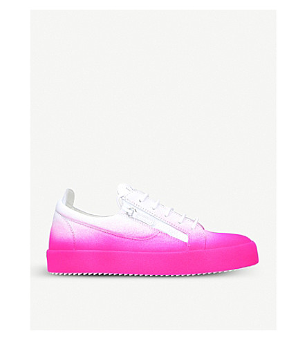 GIUSEPPE ZANOTTI Flock dégradé leather trainers (White/comb