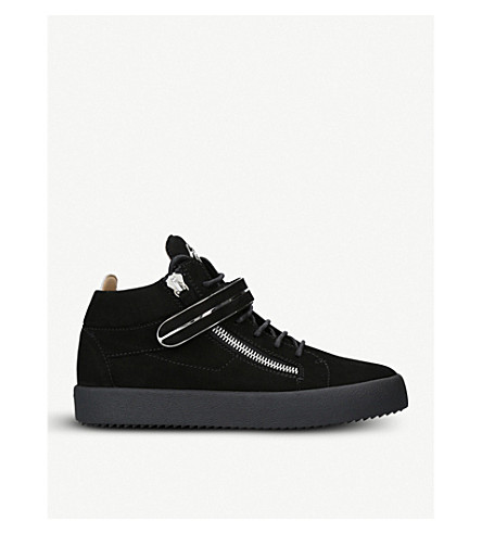 GIUSEPPE ZANOTTI Metal bar-detail suede high-top trainers (Black