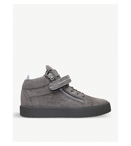 GIUSEPPE ZANOTTI Bangle suede mid-top trainers (Grey