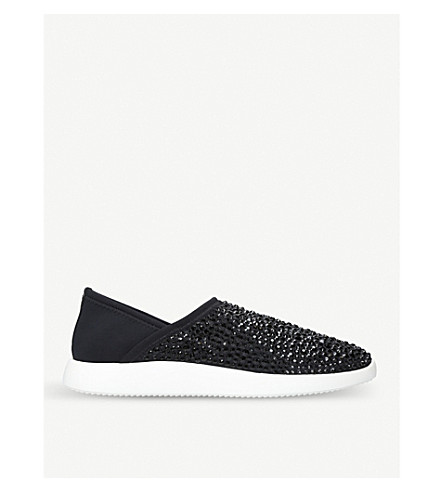 GIUSEPPE ZANOTTI Crystal slip-on trainers (Black