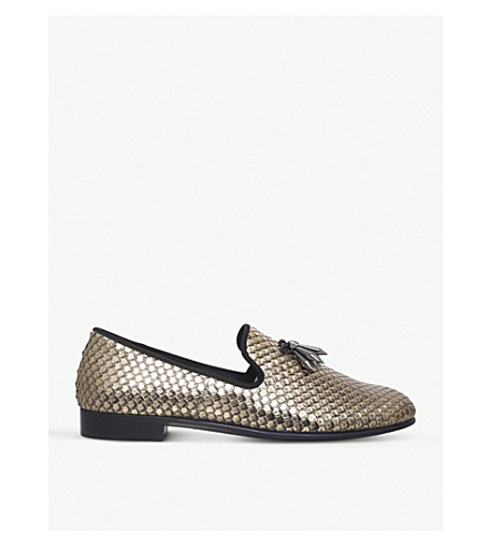 GIUSEPPE ZANOTTI Sharktooth metallic leather slippers (Gold