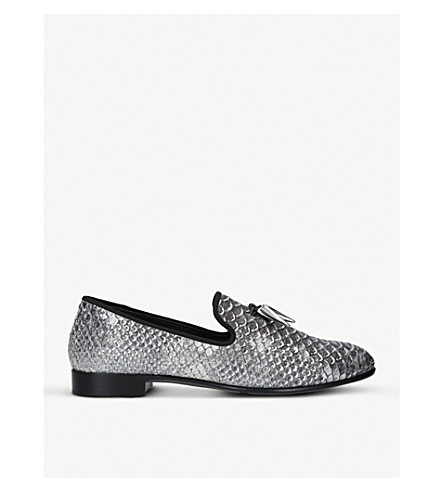 GIUSEPPE ZANOTTI Sharktooth snake-print leather slippers (Grey/other