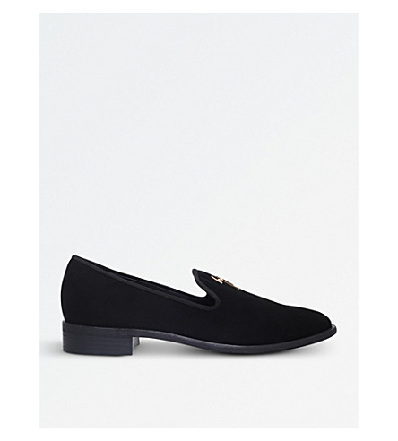GIUSEPPE ZANOTTI Logo-detailed suede loafers (Black