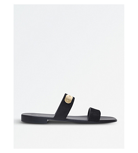 GIUSEPPE ZANOTTI Logo double-strap sandals (Black