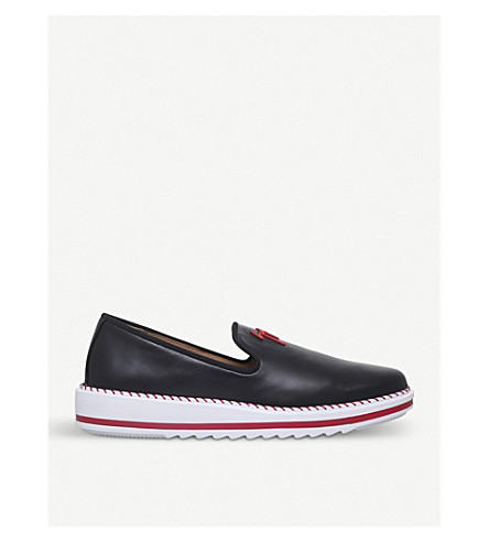 GIUSEPPE ZANOTTI Costner Logo leather slip-on trainers (Black