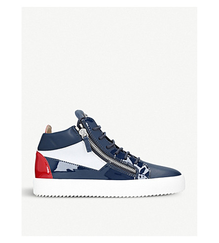 GIUSEPPE ZANOTTI Colour block leather mid-top trainers (Blue+other