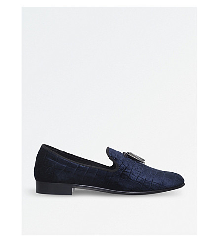 GIUSEPPE ZANOTTI Spacey croc-embossed velvet slippers (Navy