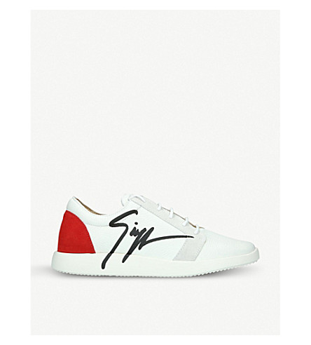 GIUSEPPE ZANOTTI G Runner panelled suede and leather trainers (White/red