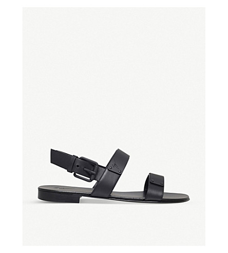 GIUSEPPE ZANOTTI Leather plate sandals (Black