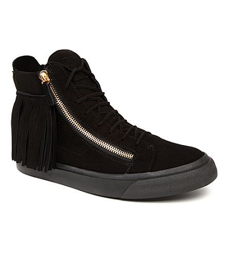 GIUSEPPE ZANOTTI Fringed high-top trainers (Black