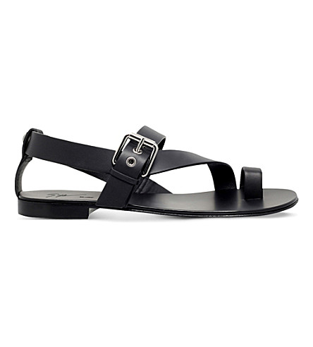 GIUSEPPE ZANOTTI Cross-over leather sandals (Black