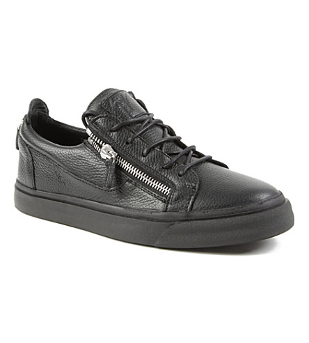 GIUSEPPE ZANOTTI Zip-lo leather trainers (Black