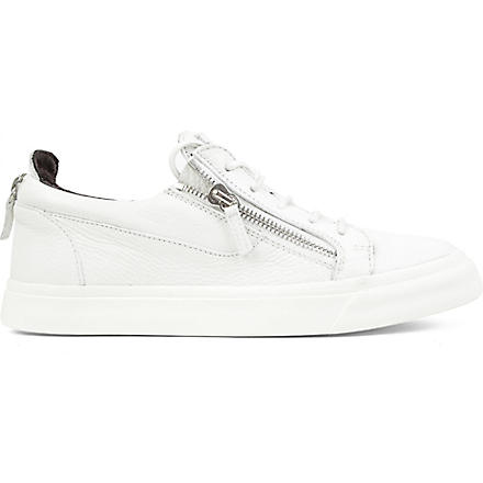 GIUSEPPE ZANOTTI Zip-lo leather trainers (White