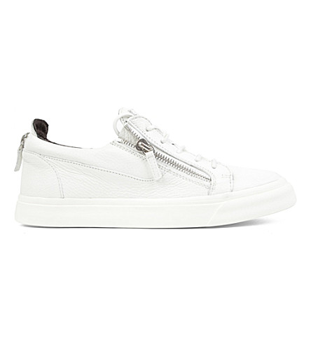 GIUSEPPE ZANOTTI Zip-low leather trainers (White