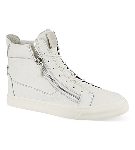 GIUSEPPE ZANOTTI Double zip high-top trainers (White