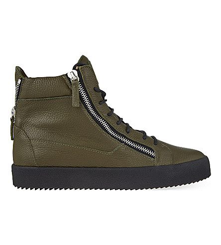 GIUSEPPE ZANOTTI Zipped leather high-top trainers (Khaki