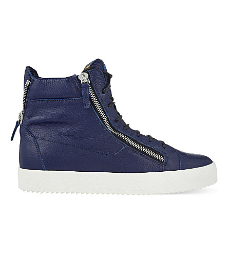 GIUSEPPE ZANOTTI Zipped leather high-top trainers (Navy