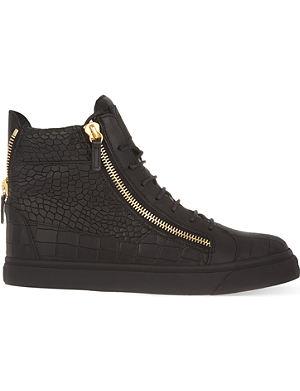 GIUSEPPE ZANOTTI Mock-croc leather high-top trainers