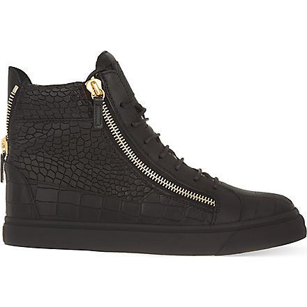 GIUSEPPE ZANOTTI Mock-croc leather high-top trainers (Black