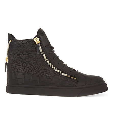 GIUSEPPE ZANOTTI Mock-croc leather high-top trainers (Black