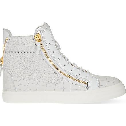 GIUSEPPE ZANOTTI Mock-croc leather high-top trainers (White