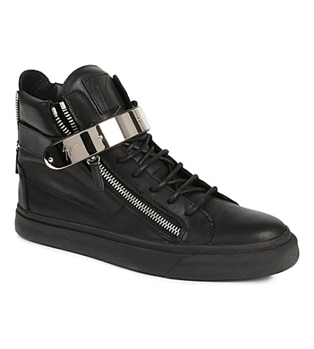 GIUSEPPE ZANOTTI Single-bangle high-top leather trainers (Black
