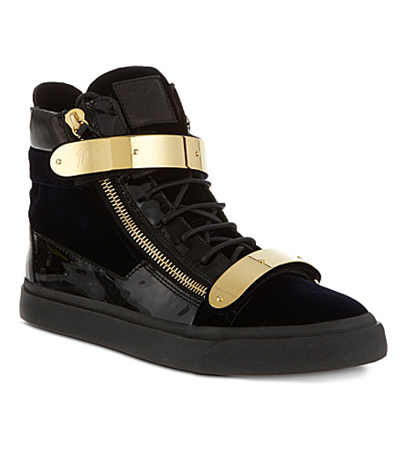 GIUSEPPE ZANOTTI Double-bangle velvet high-top trainers (Navy
