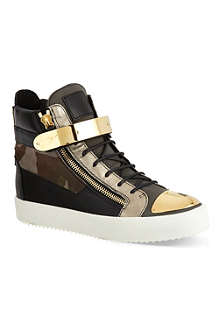 GIUSEPPE ZANOTTI Single-bangle camouflage-detail high-top trainers