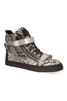 GIUSEPPE ZANOTTI Double bangle python pattern trainers