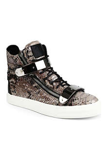GIUSEPPE ZANOTTI Python-print leather high-top trainers