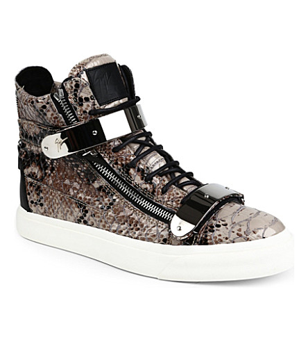 GIUSEPPE ZANOTTI Python-print leather high-top trainers (Grey