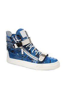 GIUSEPPE ZANOTTI Double-bangle python-print high-top trainers