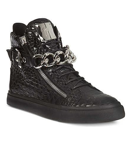 GIUSEPPE ZANOTTI Crocodile-print high-top trainers (Black