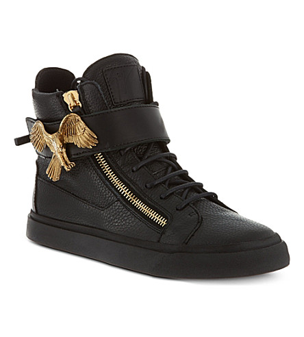 GIUSEPPE ZANOTTI Eagle-buckle leather high-top trainers (Black