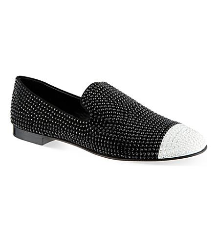 GIUSEPPE ZANOTTI Crystal slipper loafers (Black