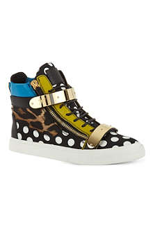 GIUSEPPE ZANOTTI Polka dot panel hi-top trainers