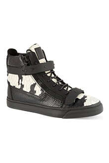 GIUSEPPE ZANOTTI Double-bangle python-effect hi-top trainers