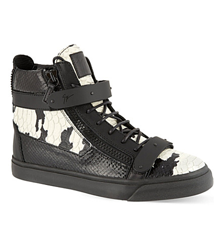 GIUSEPPE ZANOTTI Double-bangle python-effect hi-top trainers (Blk/white