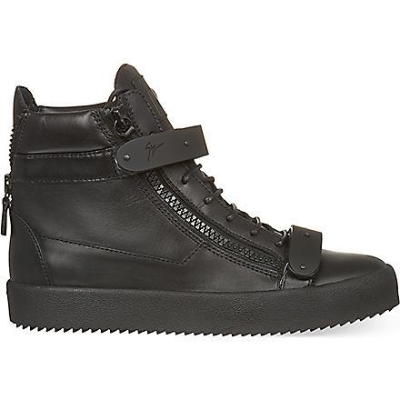 GIUSEPPE ZANOTTI Double bangle hi-top trainers (Black