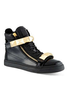 GIUSEPPE ZANOTTI Double bangle pyramid hi-top trainers